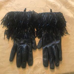 Black Leather Gloves W/ Fringe & Fur